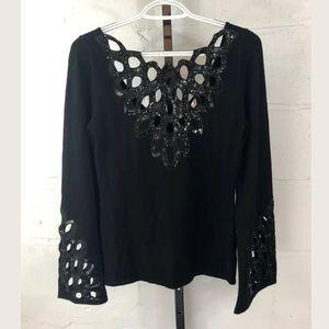 Boston Proper Glamorous Cut Out Sweater Black